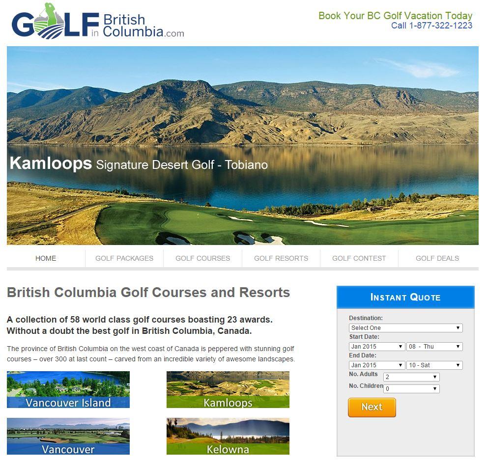 Web Advisors Client - British Columbia Golf Marketing Alliance - Multi Stakeholder - DMO - Full Service Marketing - website
