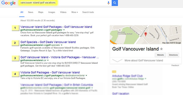 SEO for Golf Vancouver Island