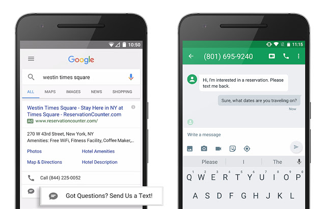 Google AdWords Text Message Extensions