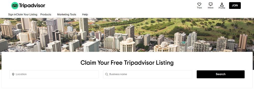 Claim your listing screen