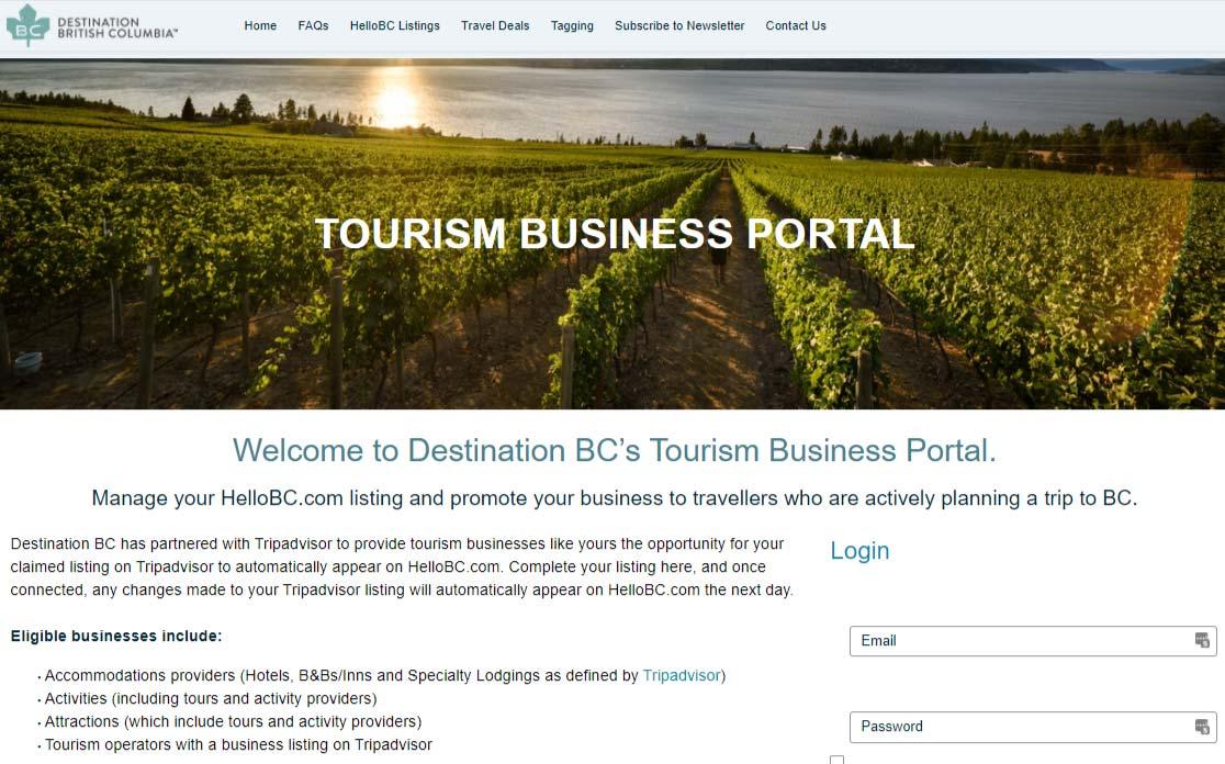 Tourism Business Portal