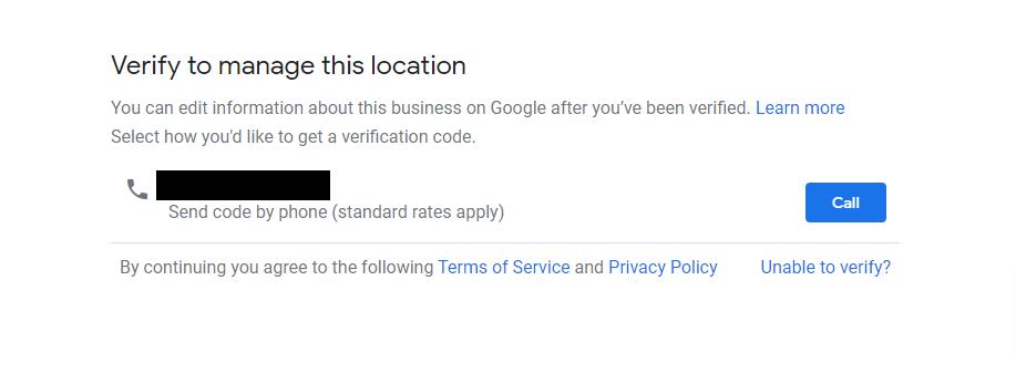 Google verification screenshot
