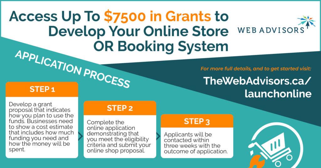 launch online grant program infographic