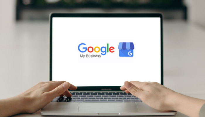 Laptop screen with Google My Business logo